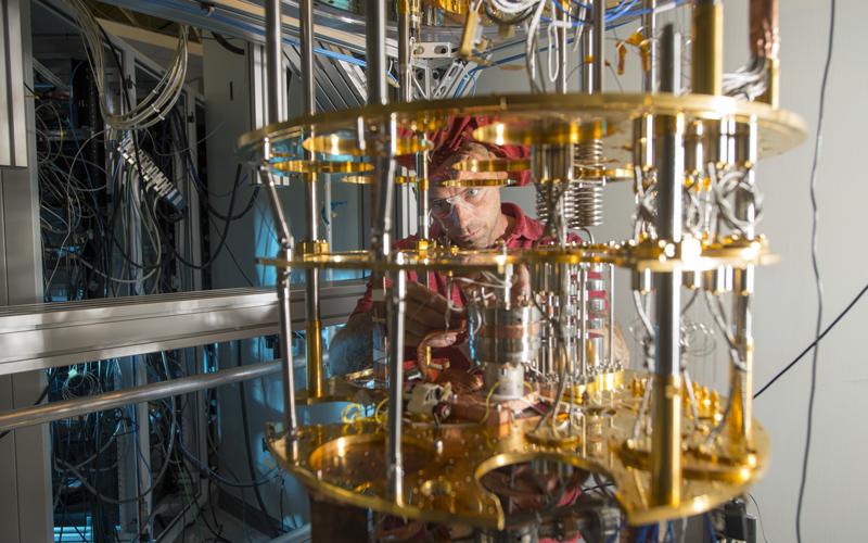 Damon Bice tests cavities in the Quantum Lab