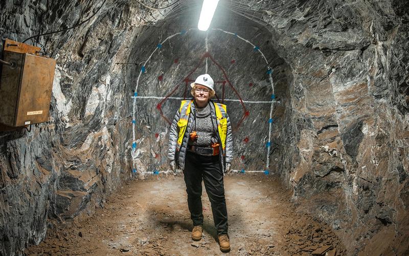 Elaine McCluskey underground at Sanford Lab